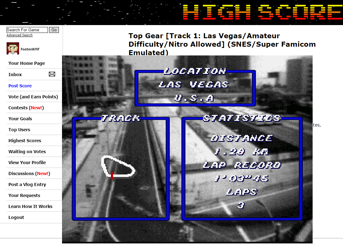 FosterAMF: Top Gear [Track 1: Las Vegas/Amateur Difficulty/Nitro Allowed] (SNES/Super Famicom Emulated) 0:00:59.46 points on 2015-06-07 03:00:40