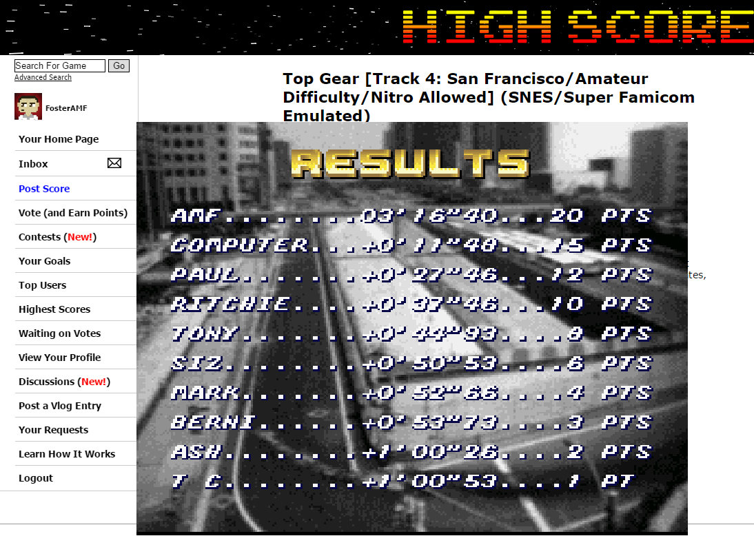 FosterAMF: Top Gear [Track 4: San Francisco/Amateur Difficulty/Nitro Allowed] (SNES/Super Famicom Emulated) 0:03:16.4 points on 2015-06-07 03:23:36