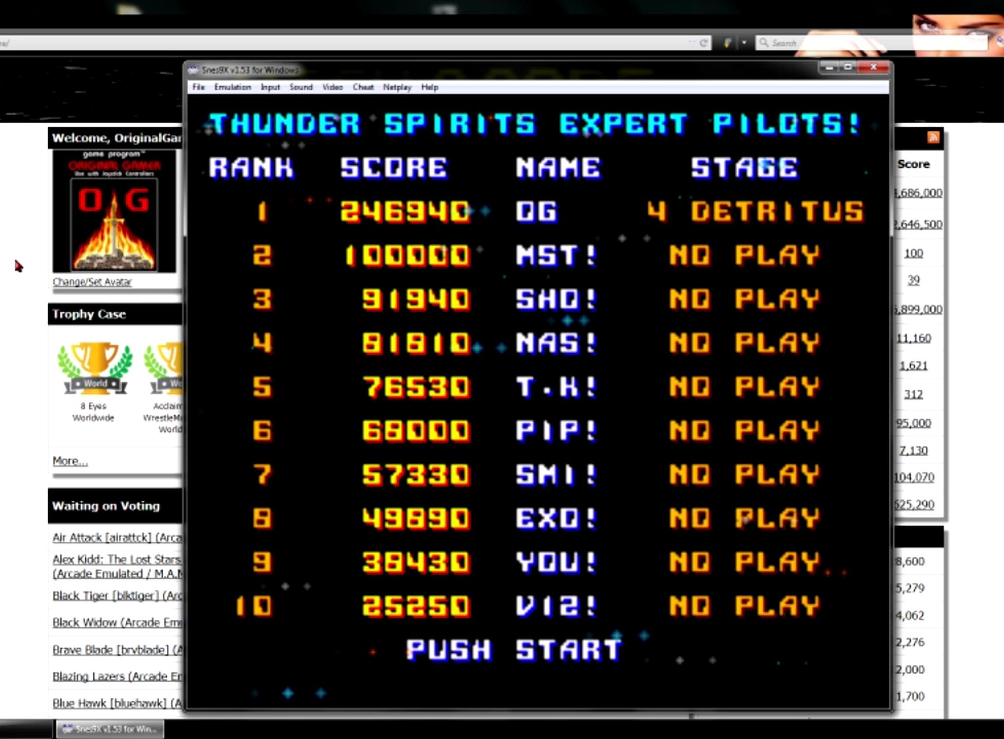 OriginalGamer: Thunder Spirits (SNES/Super Famicom Emulated) 246,940 points on 2015-06-08 23:39:07