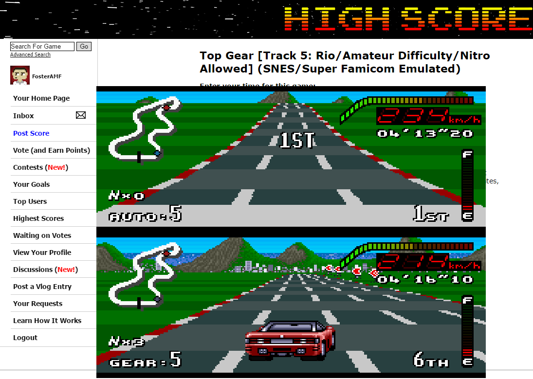 FosterAMF: Top Gear [Track 5: Rio/Amateur Difficulty/Nitro Allowed] (SNES/Super Famicom Emulated) 0:04:13.2 points on 2015-06-10 15:48:04