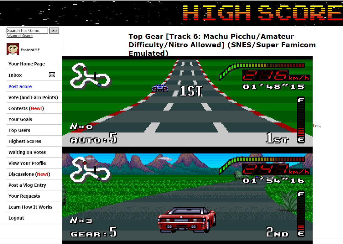 FosterAMF: Top Gear [Track 6: Machu Picchu/Amateur Difficulty/Nitro Allowed] (SNES/Super Famicom Emulated) 0:01:48.15 points on 2015-06-10 15:57:19