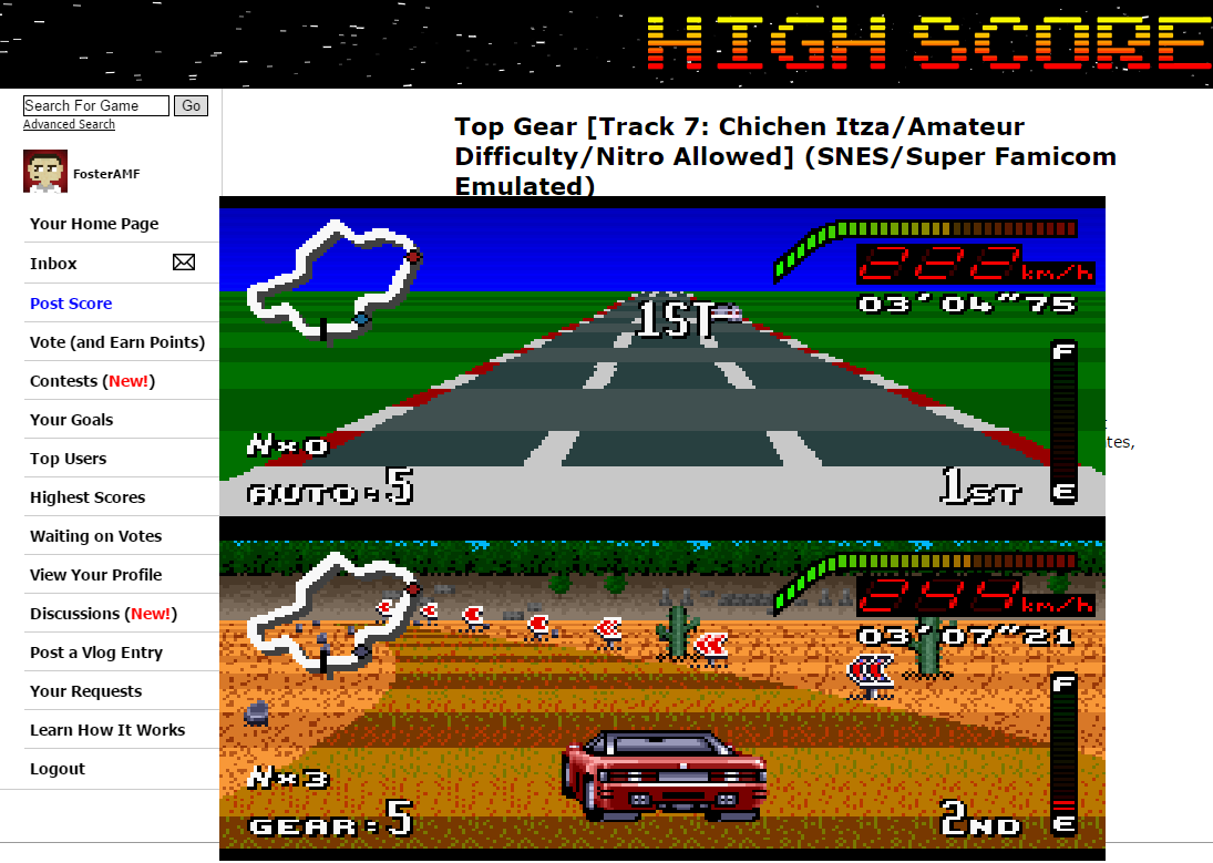 FosterAMF: Top Gear [Track 7: Chichen Itza/Amateur Difficulty/Nitro Allowed] (SNES/Super Famicom Emulated) 0:03:04.75 points on 2015-06-10 16:23:27