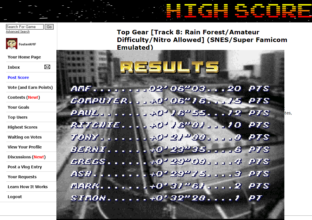 FosterAMF: Top Gear [Track 8: Rain Forest/Amateur Difficulty/Nitro Allowed] (SNES/Super Famicom Emulated) 0:02:06.03 points on 2015-06-10 16:34:19