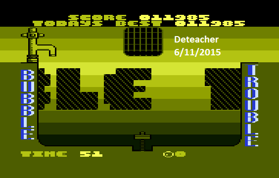 Deteacher: Bubble Trouble (Atari 400/800/XL/XE Emulated) 11,985 points on 2015-06-11 15:32:49