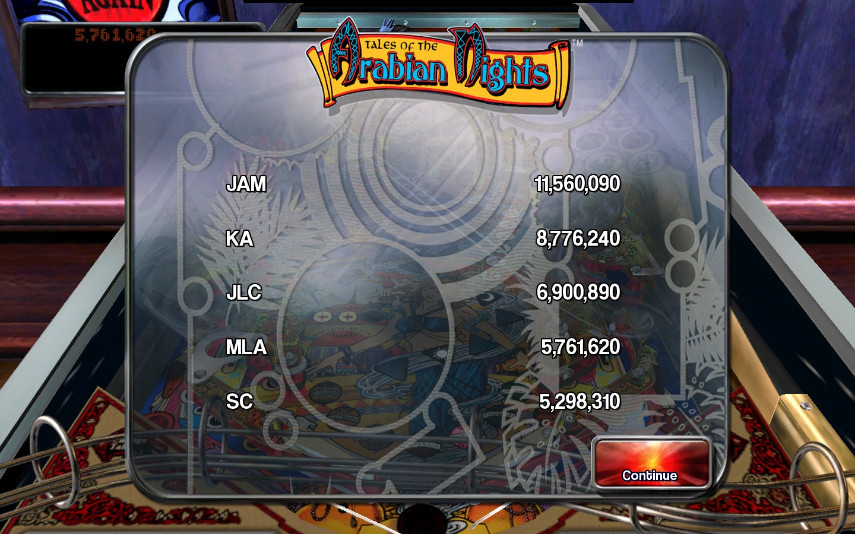 kamakazi20012: Pinball Arcade: Arabian Knights (PC) 5,761,620 points on 2015-06-11 18:08:51