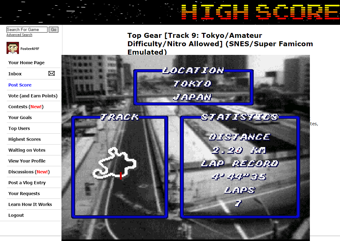 FosterAMF: Top Gear [Track 9: Tokyo/Amateur Difficulty/Nitro Allowed] (SNES/Super Famicom Emulated) 0:04:38.9 points on 2015-06-12 01:09:37