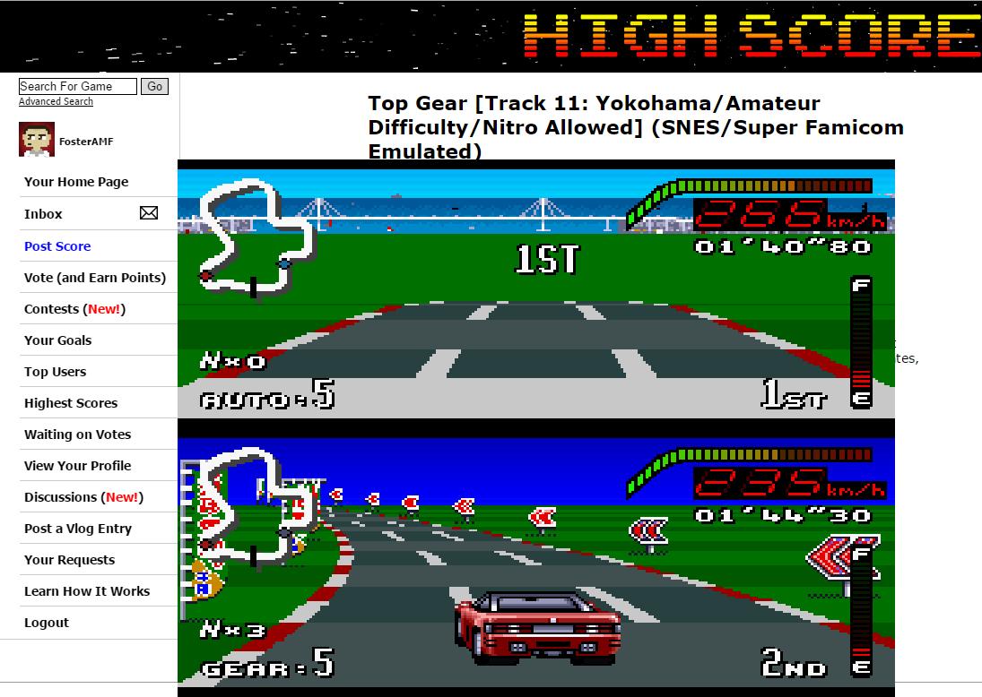 FosterAMF: Top Gear [Track 11: Yokohama/Amateur Difficulty/Nitro Allowed] (SNES/Super Famicom Emulated) 0:01:40.8 points on 2015-06-12 01:31:59