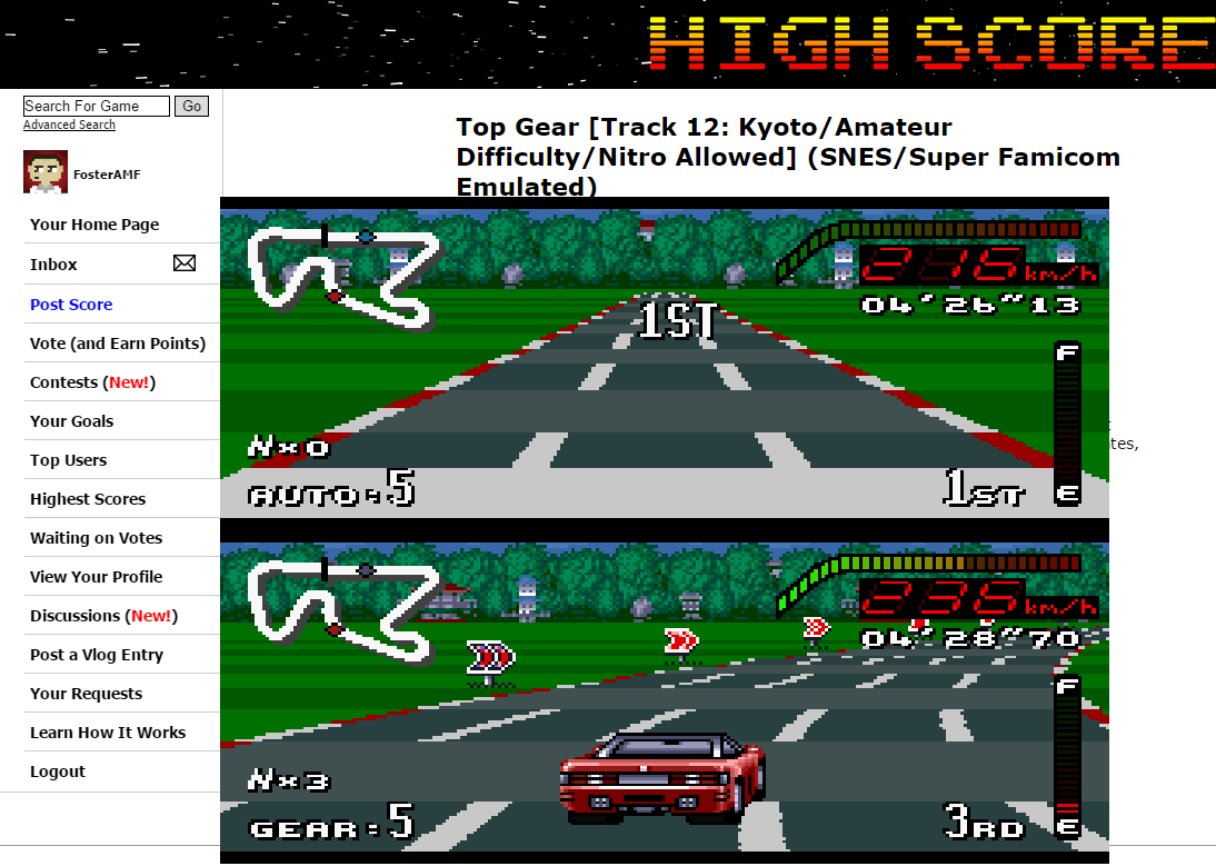 FosterAMF: Top Gear [Track 12: Kyoto/Amateur Difficulty/Nitro Allowed] (SNES/Super Famicom Emulated) 0:04:26.13 points on 2015-06-12 01:44:04