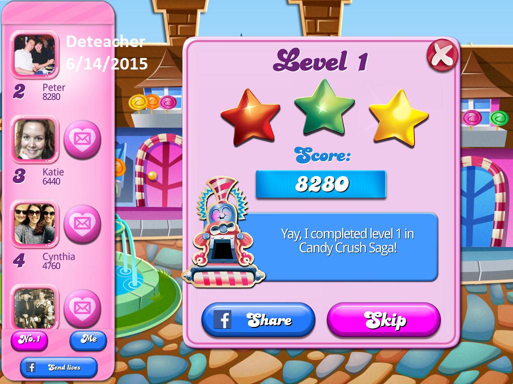 Deteacher: Candy Crush Saga: Level 001 (iOS) 8,280 points on 2015-06-14 17:53:36