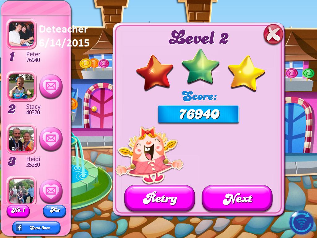 Deteacher: Candy Crush Saga: Level 002 (iOS) 76,940 points on 2015-06-14 17:55:18