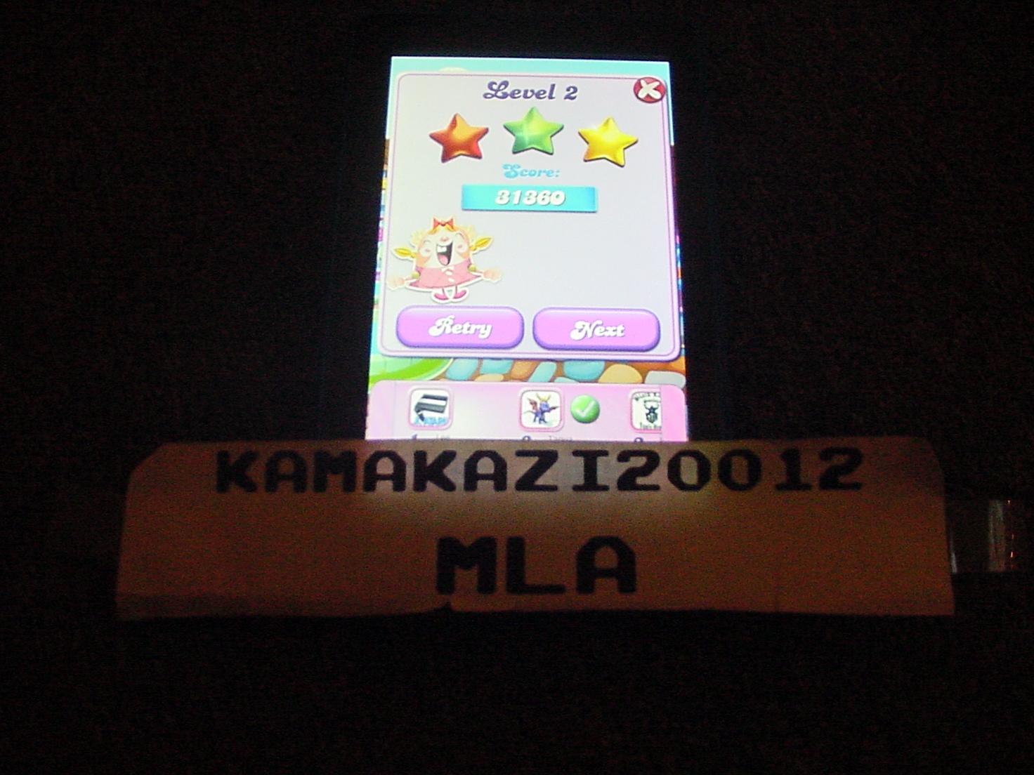 kamakazi20012: Candy Crush Saga: Level 0002 (Android) 31,360 points on 2015-06-14 23:29:23