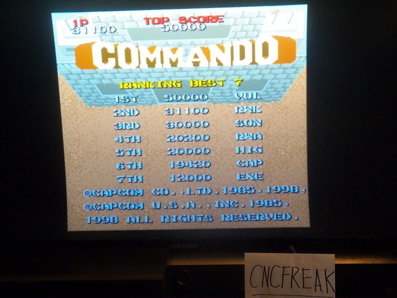 Capcom Classics Vol 1: Commando 31,100 points