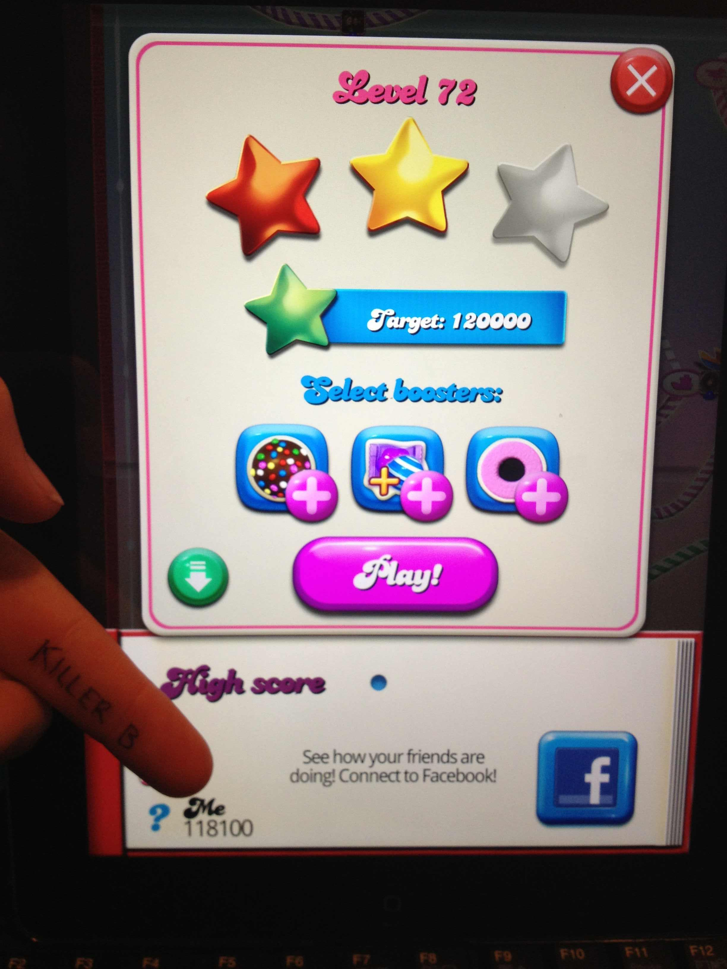 KillerB: Candy Crush Saga: Level 072 (iOS) 118,100 points on 2013-11-19 16:39:55