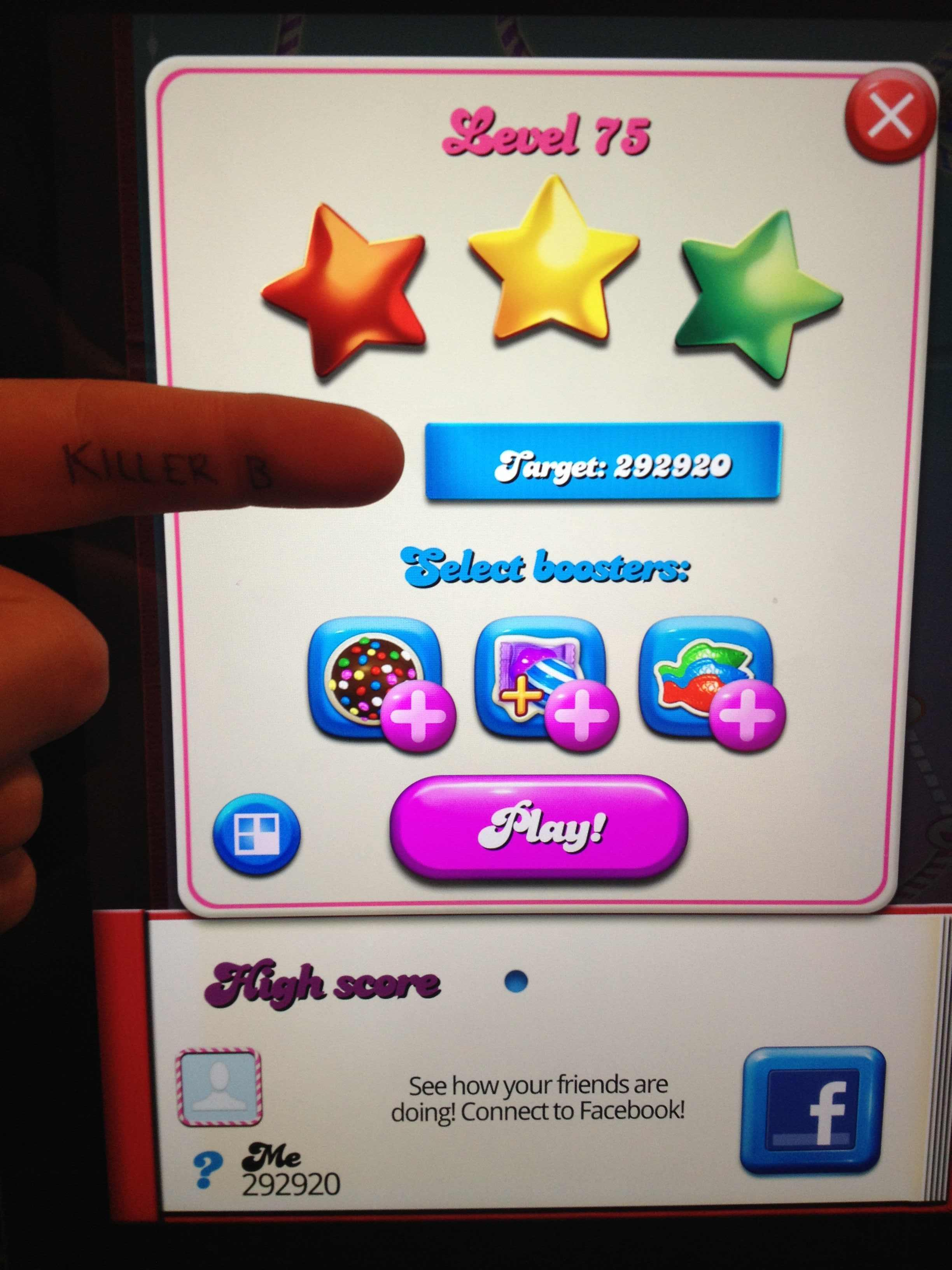 KillerB: Candy Crush Saga: Level 075 (iOS) 292,920 points on 2013-11-19 16:42:00
