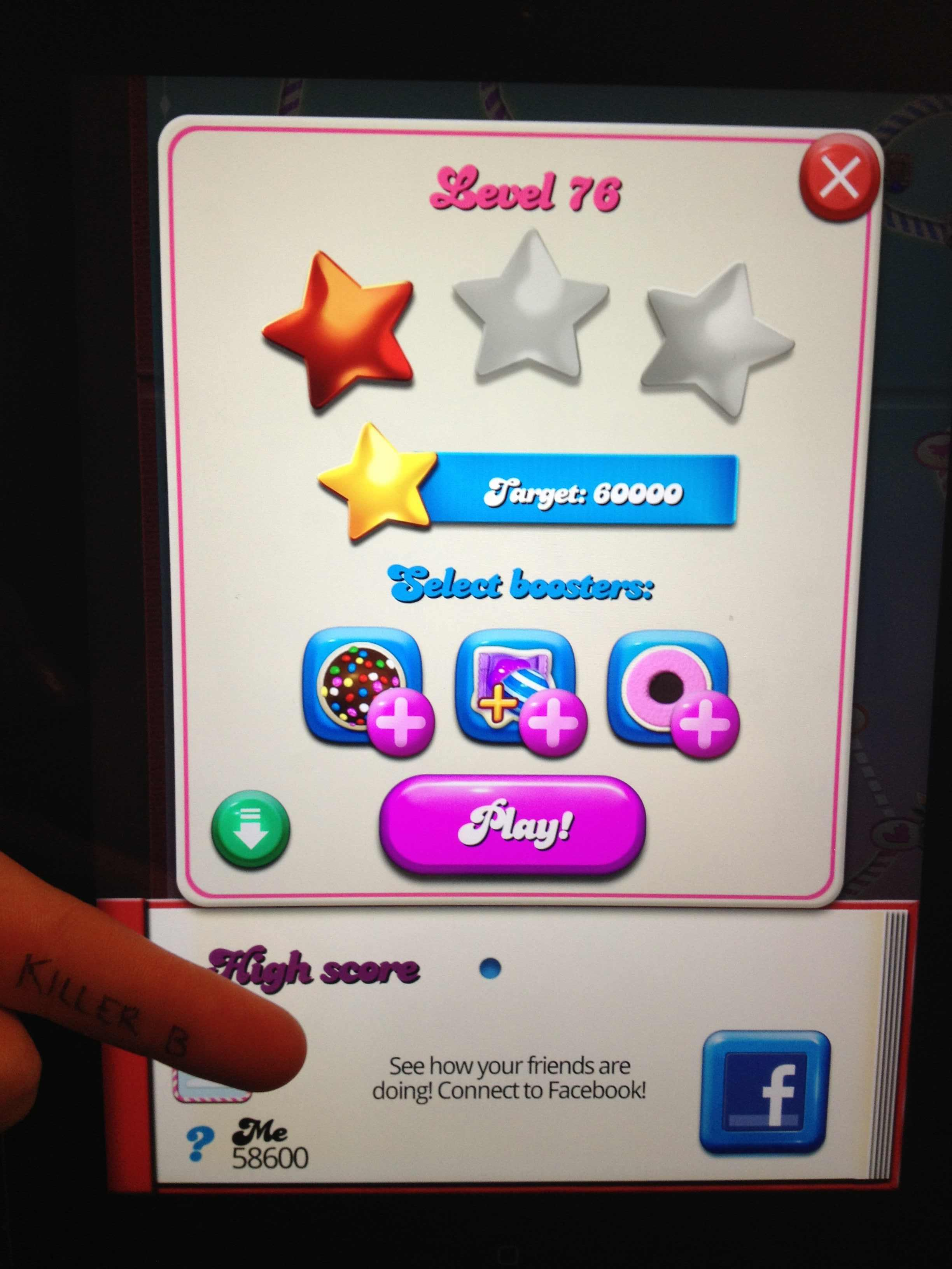KillerB: Candy Crush Saga: Level 076 (iOS) 58,600 points on 2013-11-19 16:42:41
