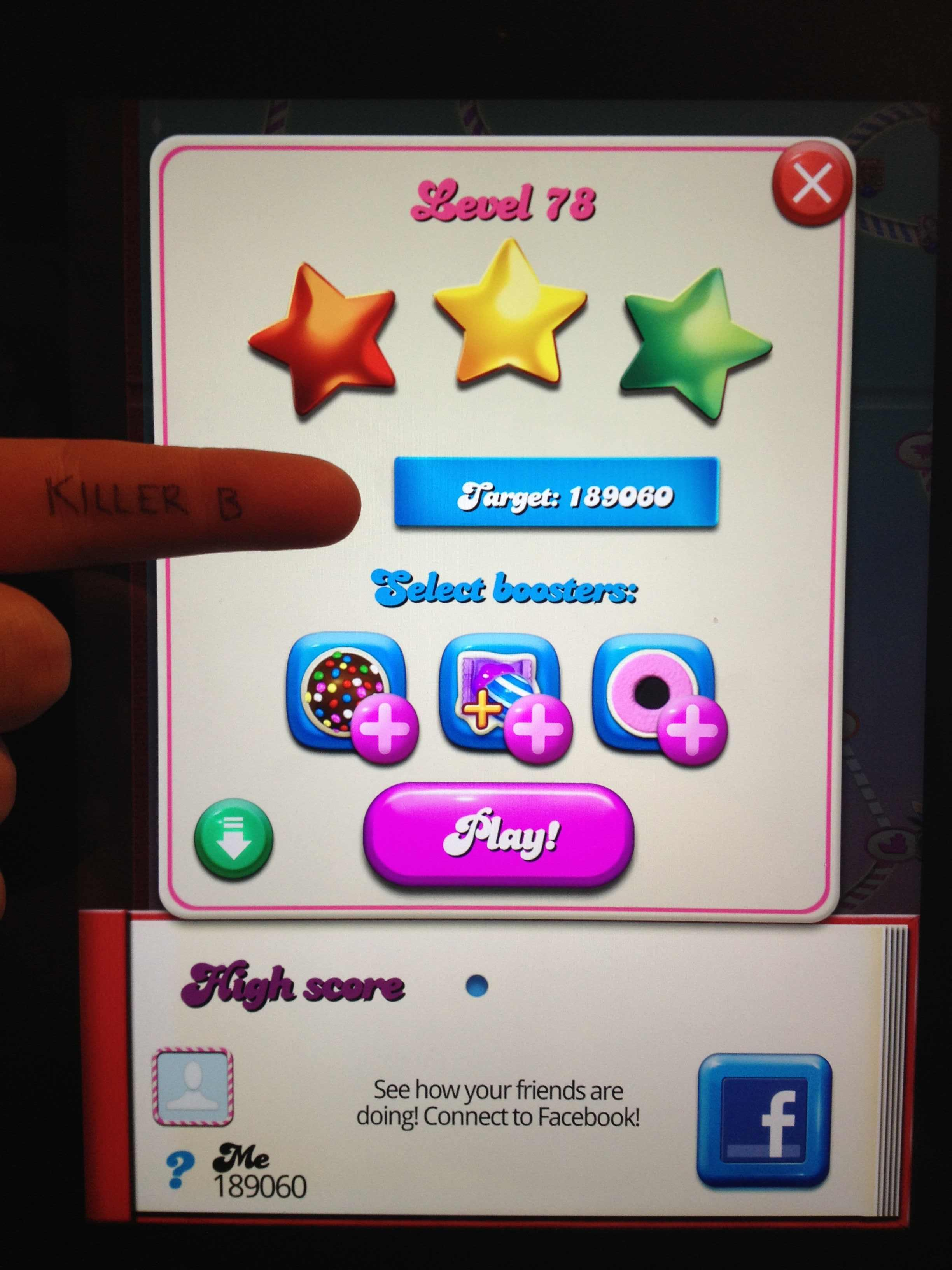 KillerB: Candy Crush Saga: Level 078 (iOS) 189,060 points on 2013-11-19 16:44:01