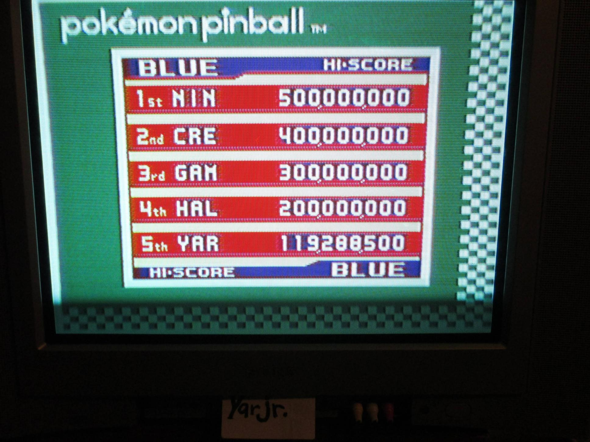 Pokemon Pinball 119,288,500 points