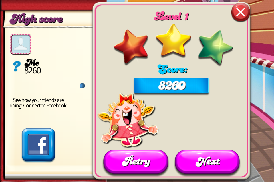 Candy Crush Saga: Level 001 8,260 points