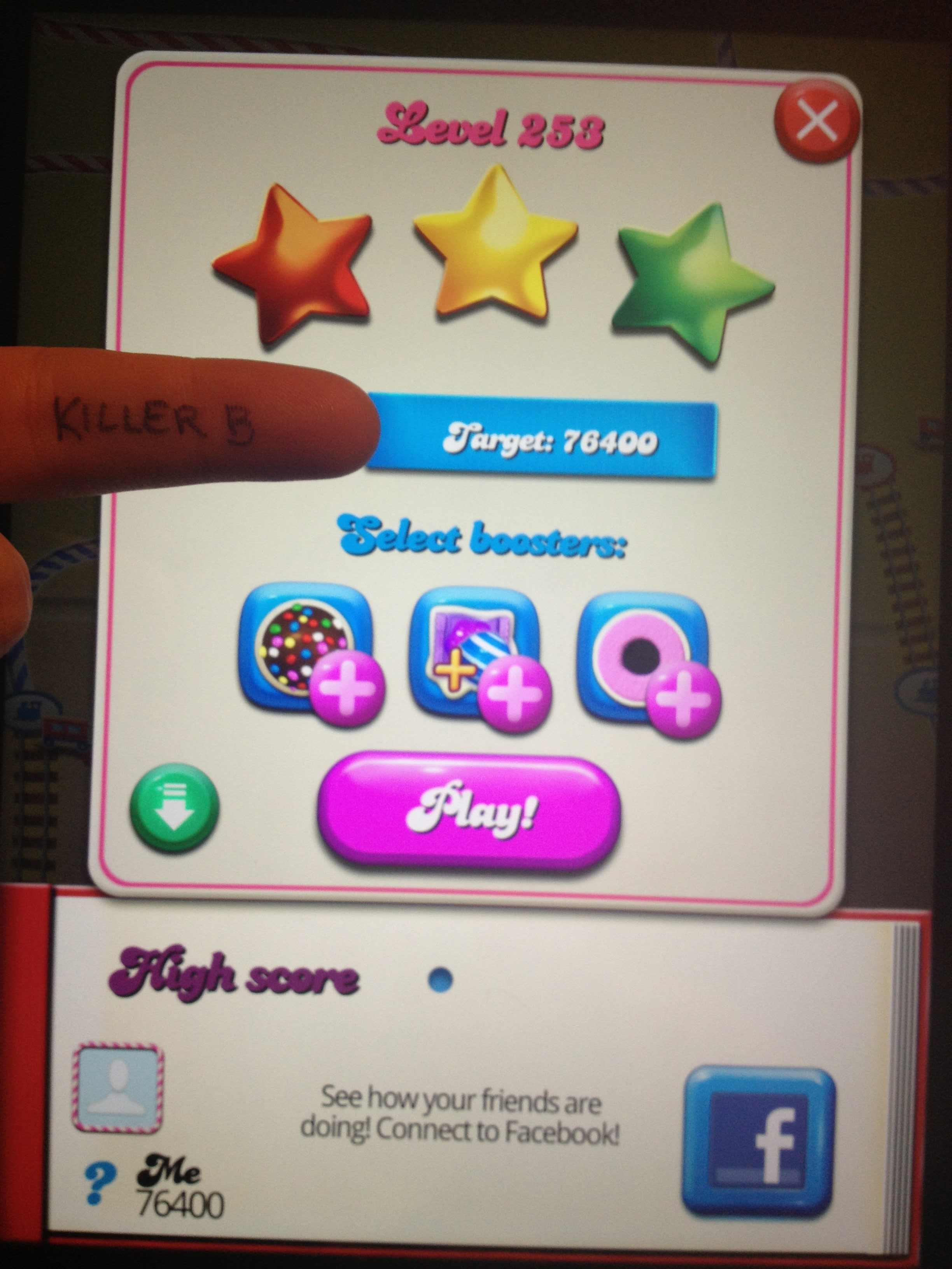 Candy Crush Saga: Level 253 76,400 points