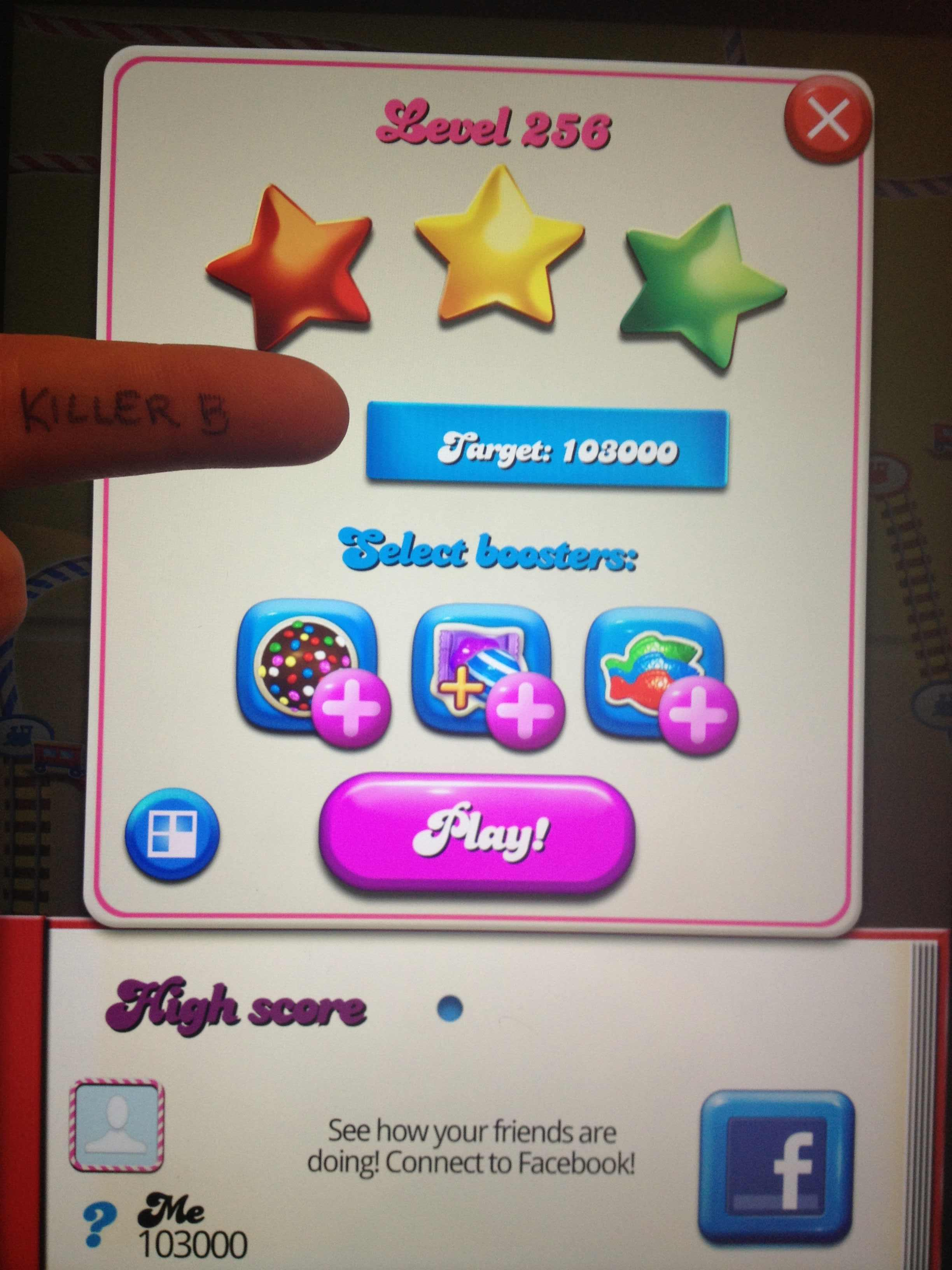 Candy Crush Saga: Level 256 103,000 points