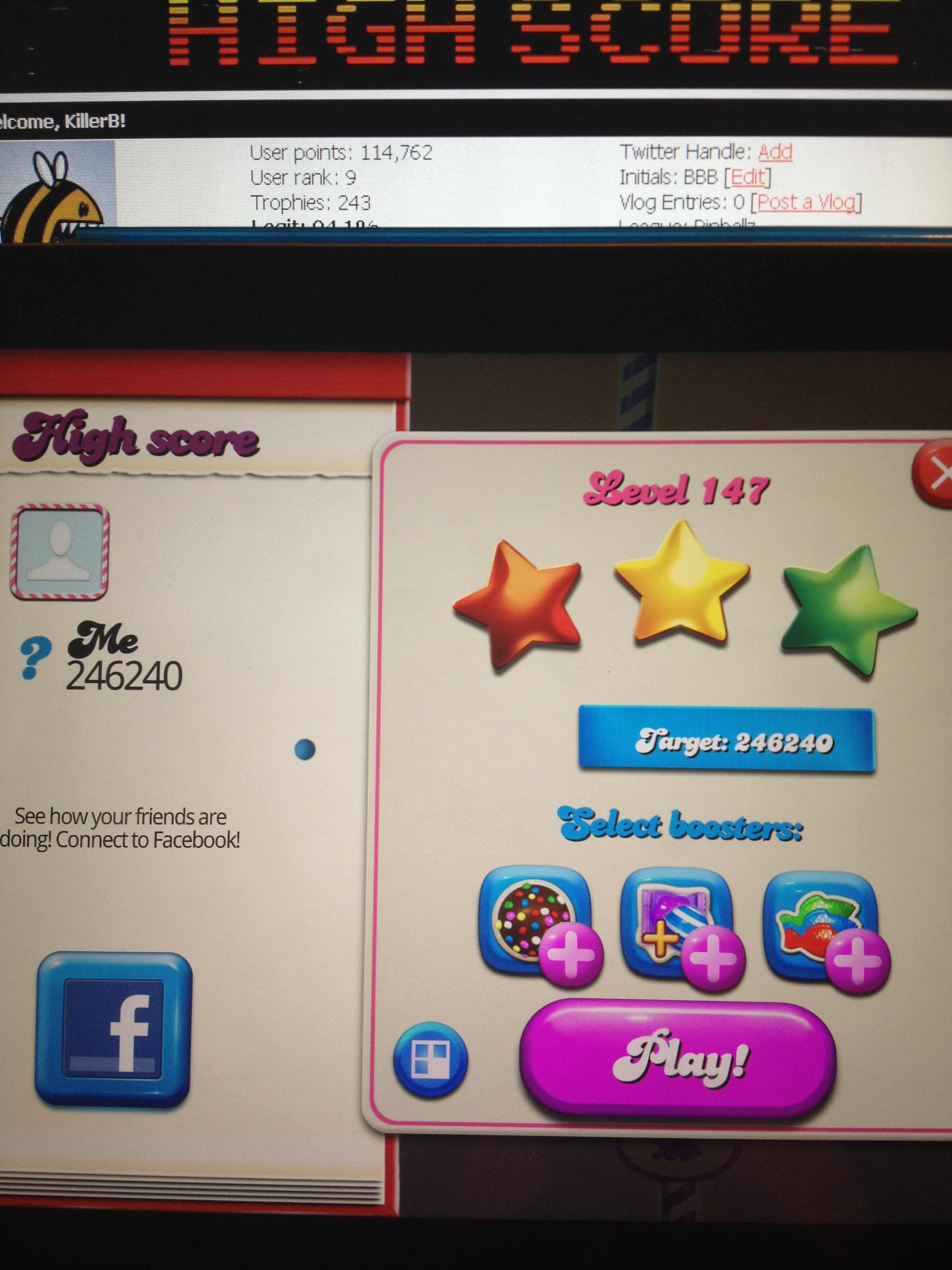 KillerB: Candy Crush Saga: Level 147 (iOS) 246,240 points on 2013-12-08 22:40:28