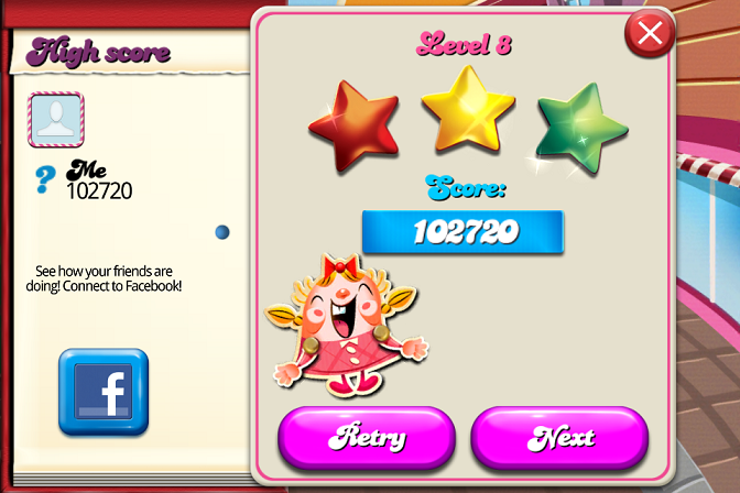Candy Crush Saga: Level 008 102,720 points