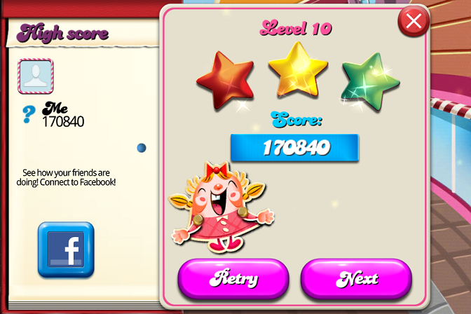 Candy Crush Saga: Level 010 170,840 points