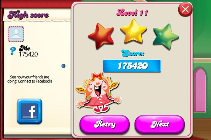 Candy Crush Saga: Level 011 175,420 points