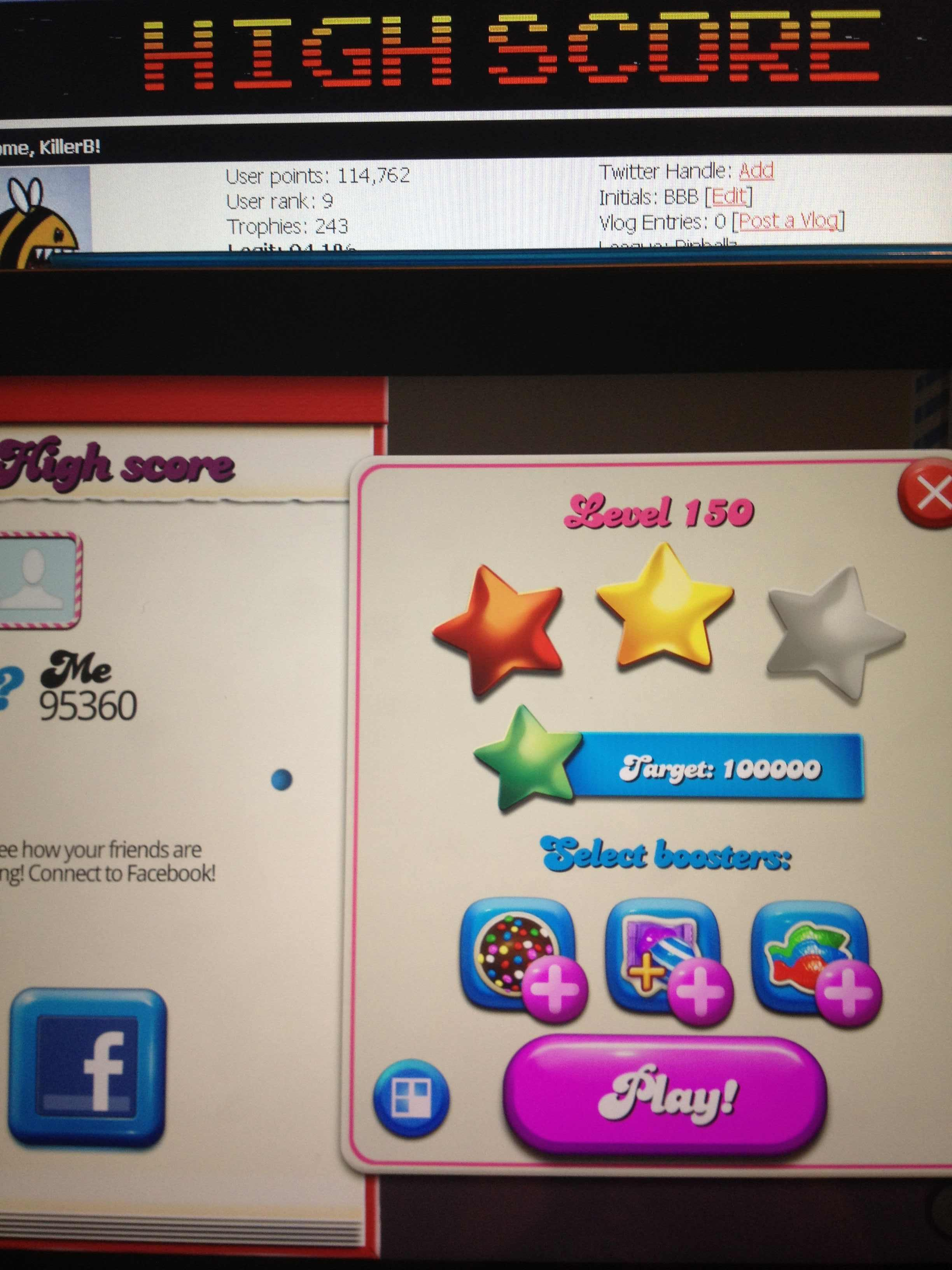 KillerB: Candy Crush Saga: Level 150 (iOS) 95,360 points on 2013-12-17 21:52:39