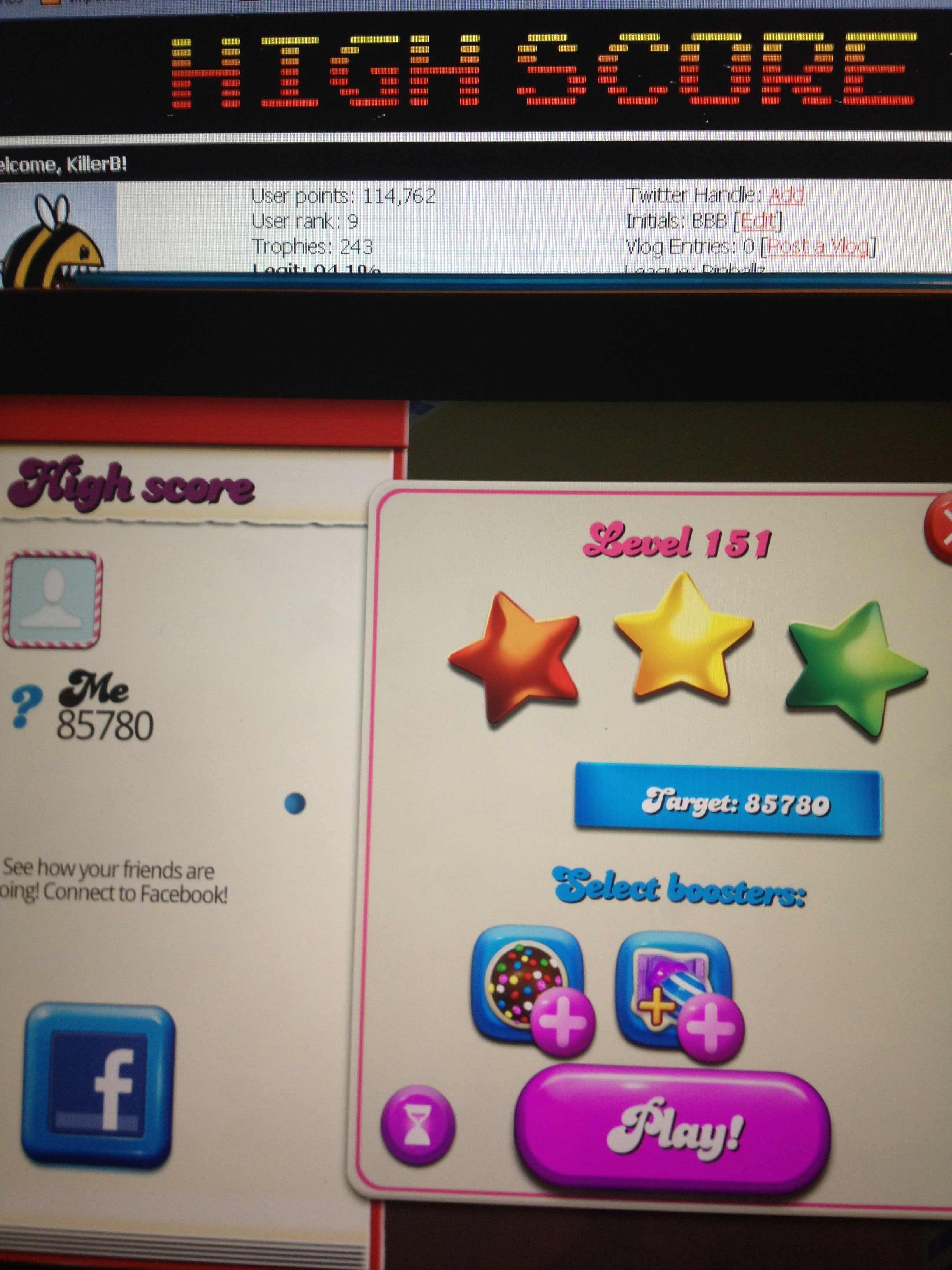 KillerB: Candy Crush Saga: Level 151 (iOS) 85,780 points on 2013-12-17 21:54:26