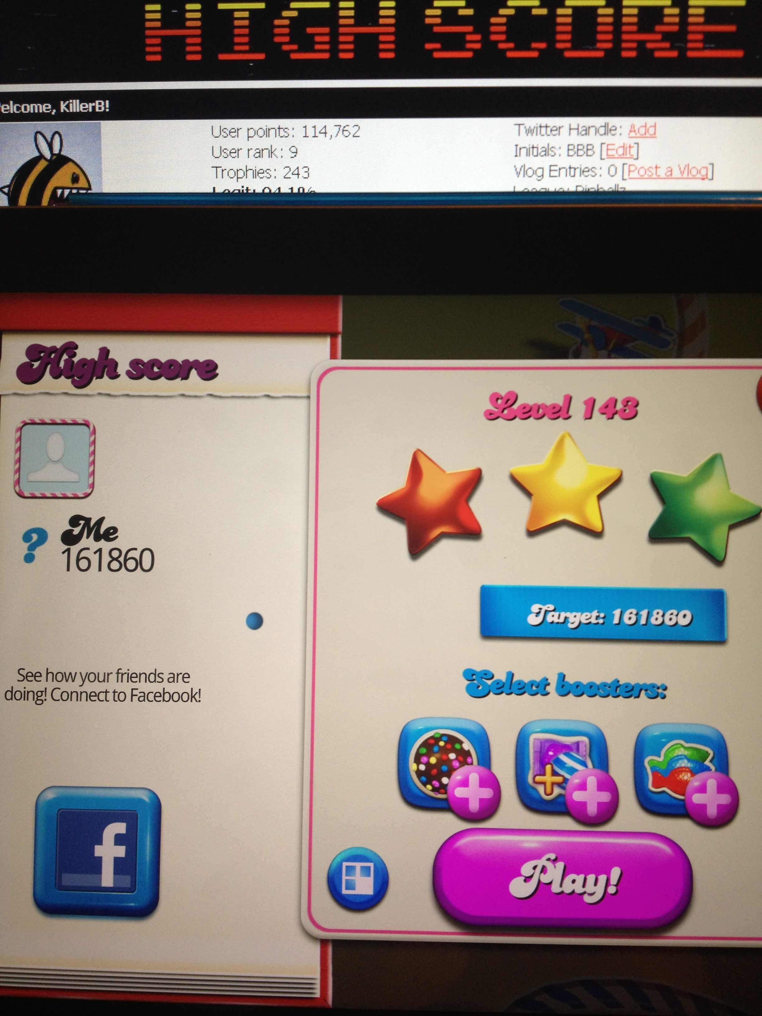 KillerB: Candy Crush Saga: Level 143 (iOS) 161,860 points on 2013-12-17 21:56:29