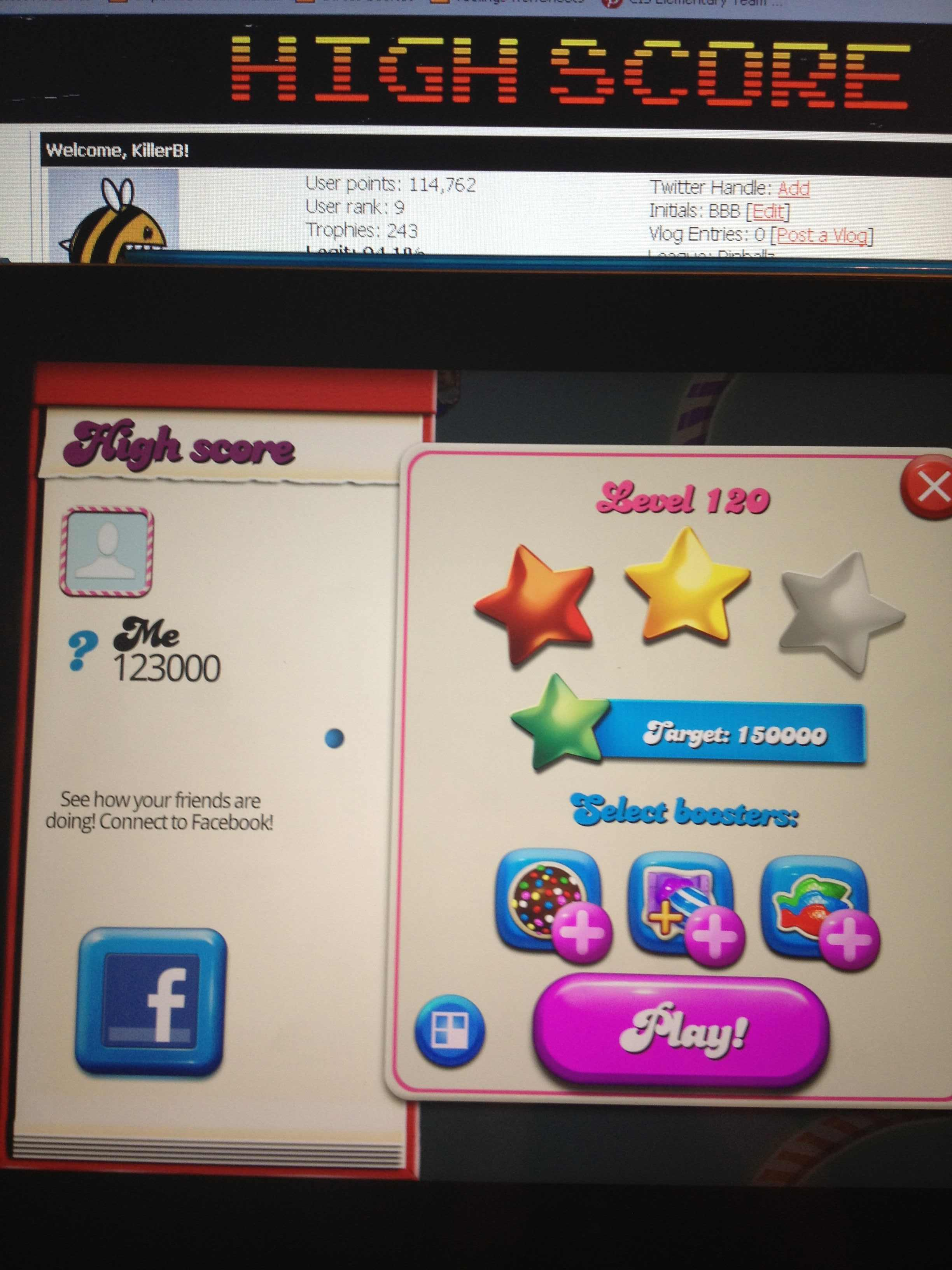 KillerB: Candy Crush Saga: Level 120 (iOS) 123,000 points on 2013-12-17 22:09:05