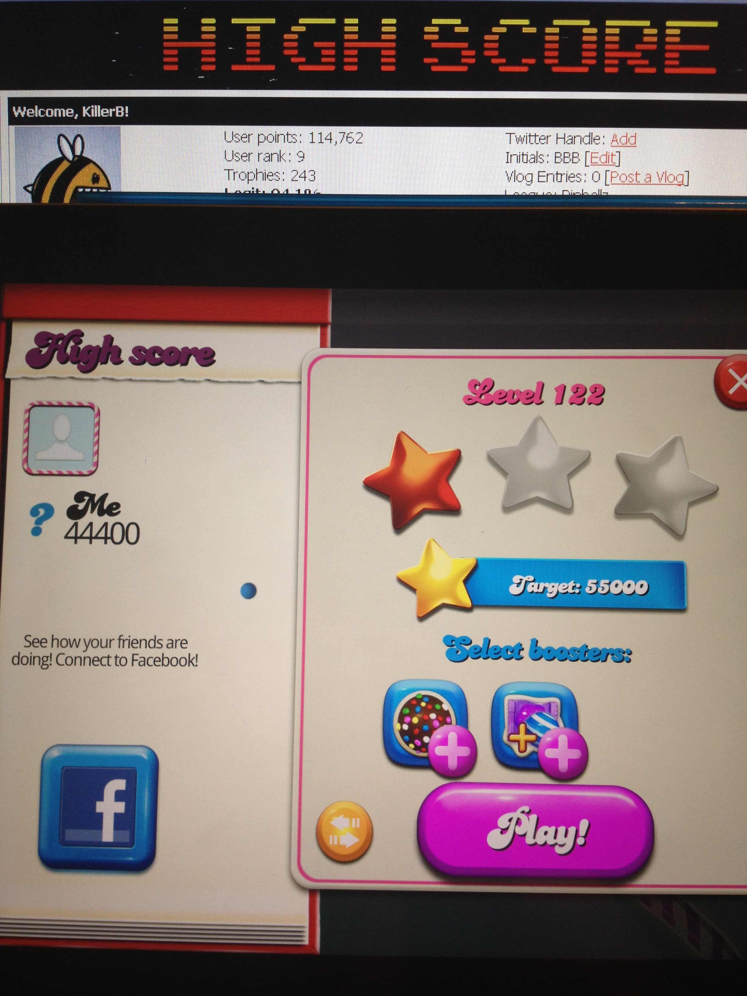 Candy Crush Saga: Level 122 44,400 points