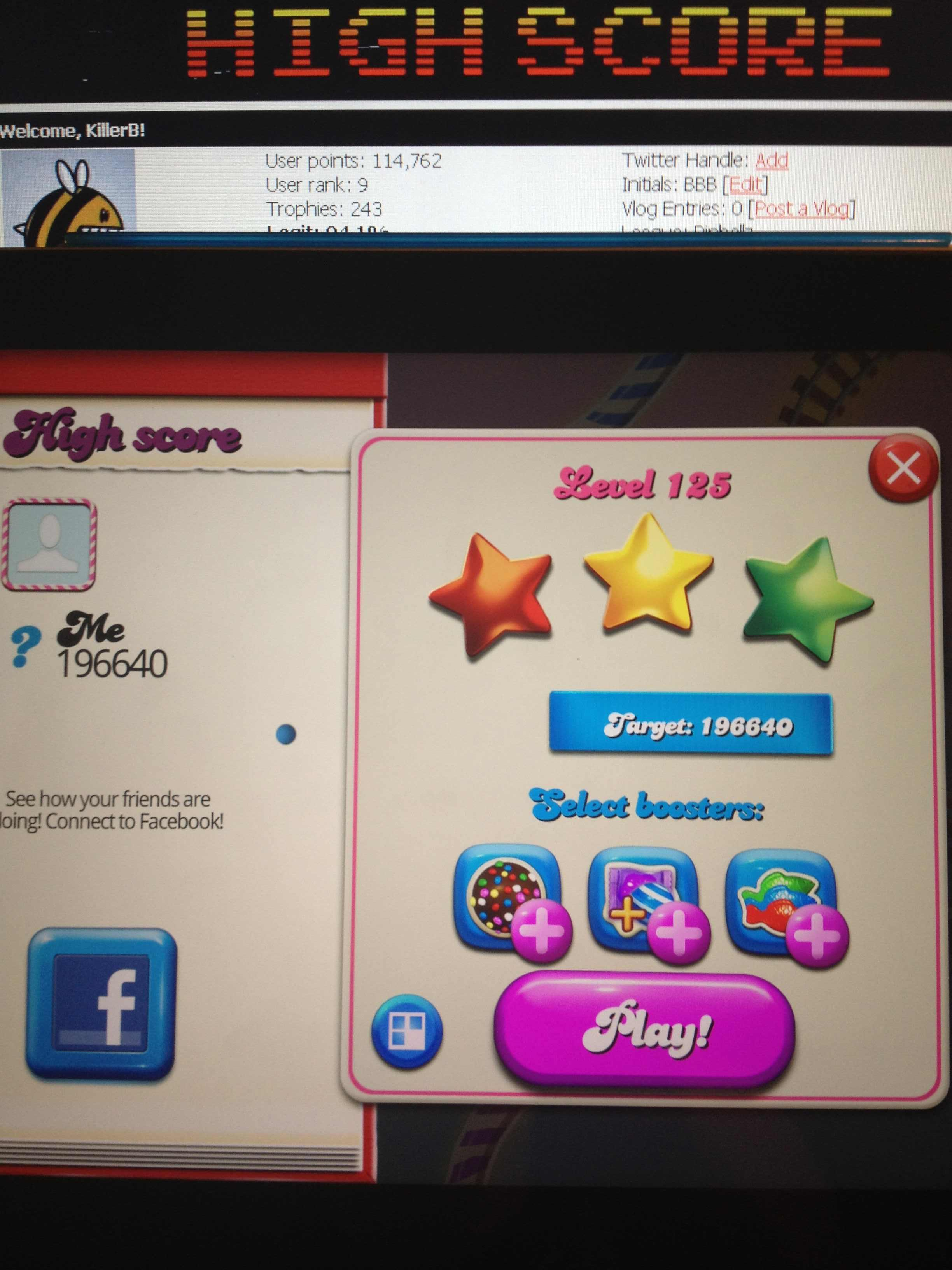 KillerB: Candy Crush Saga: Level 125 (iOS) 196,640 points on 2013-12-17 22:19:19