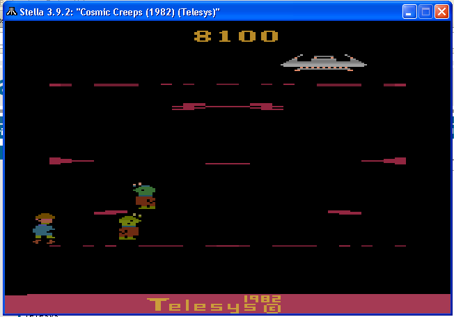 arenafoot: Cosmic Creeps (Atari 2600 Emulated) 8,100 points on 2014-01-13 15:35:22