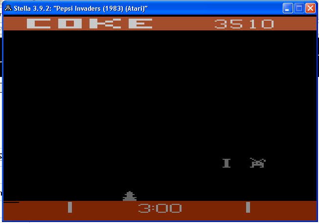 arenafoot: Pepsi Invaders / Coke Wins (Atari 2600 Emulated) 3,510 points on 2014-01-13 16:06:34