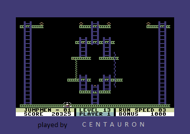 Centauron: Jumpman (Commodore 64 Emulated) 20,325 points on 2014-01-24 19:58:10