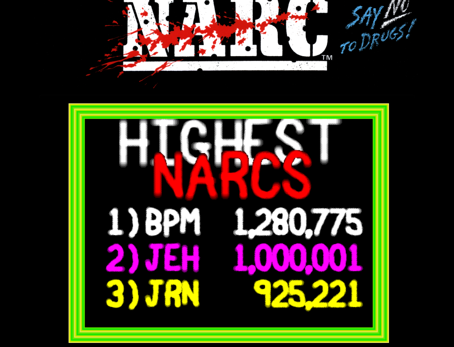 arenafoot: NARC (Arcade Emulated / M.A.M.E.) 1,280,775 points on 2014-01-26 21:32:12