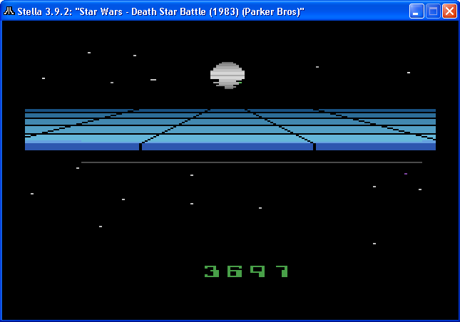 arenafoot: Star Wars: Death Star Battle (Atari 2600 Emulated Novice/B Mode) 3,697 points on 2014-01-31 20:49:05