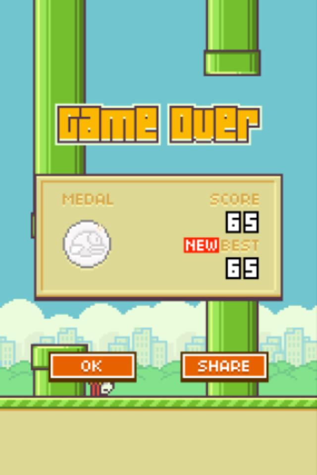 MrBlueSky2397: Flappy Bird (iOS) 65 points on 2014-02-01 11:51:22