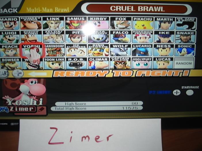 Super Smash Bros. Brawl: Cruel Brawl: Yoshi 99 points