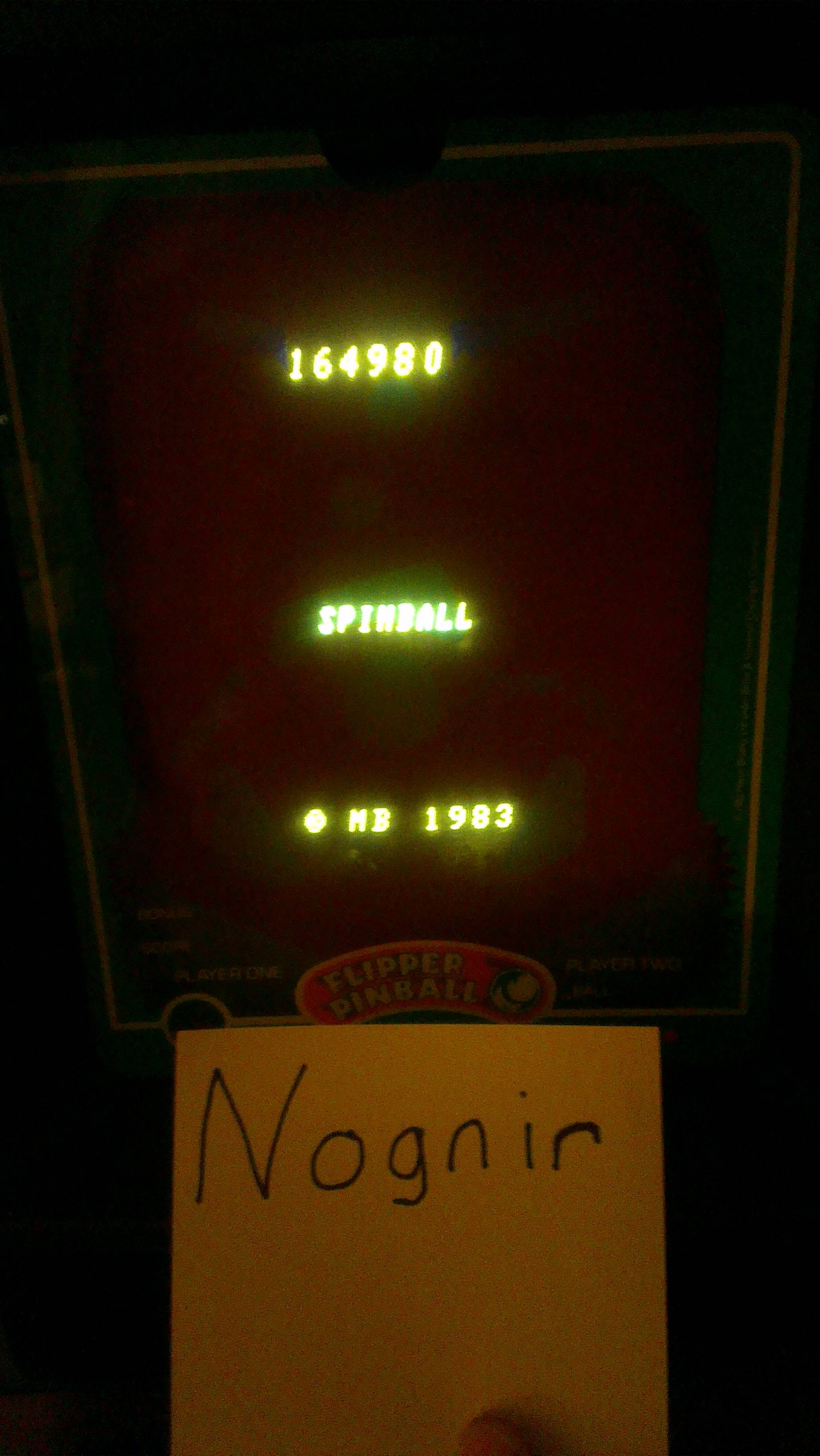 Flipper Pinball/Spinball 164,980 points