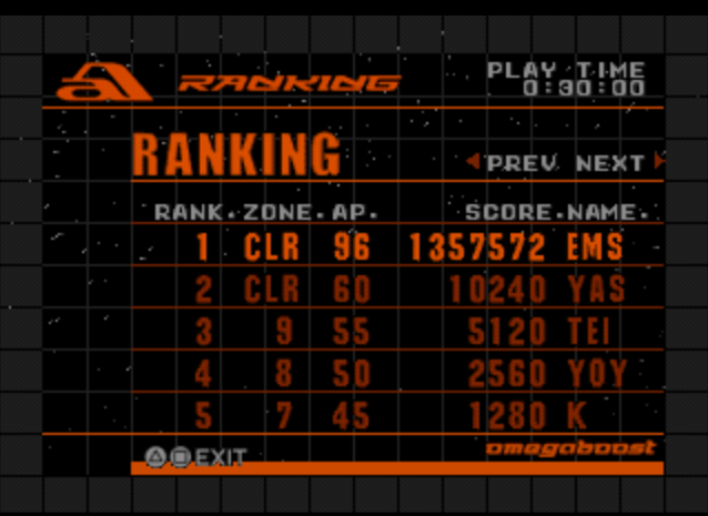 Emeraldsniper: Omega Boost (Playstation 1 Emulated) 1,357,572 points on 2014-02-05 15:02:55