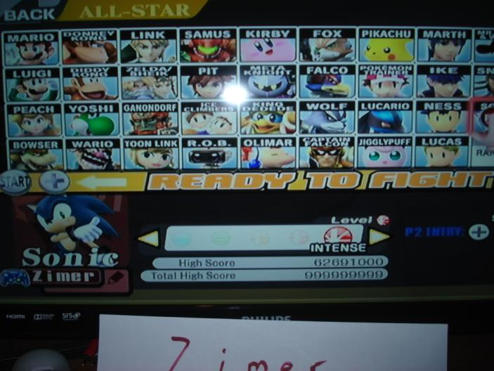 Super Smash Bros. Brawl: All-Star Mode: Sonic 62,691,000 points