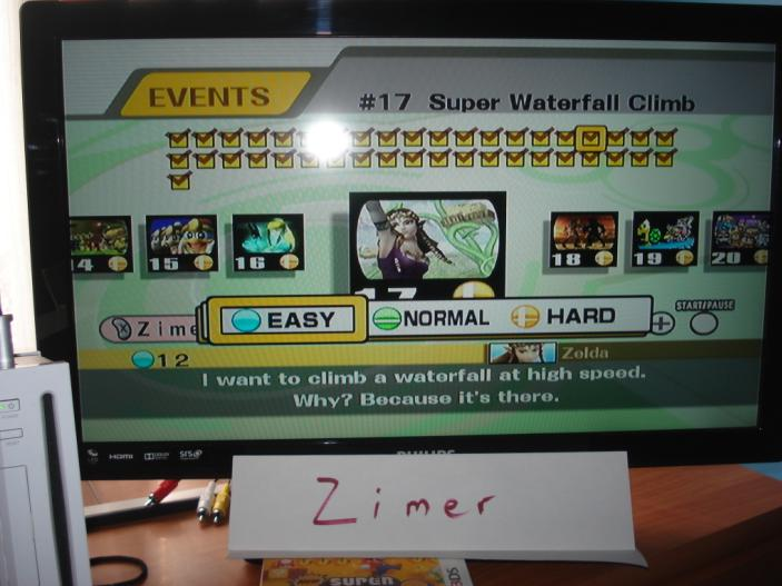 Zimer: Super Smash Bros. Brawl: Event Match 17: Super Waterfall Climb [Easy] (Wii) 12 points on 2014-02-06 17:52:16