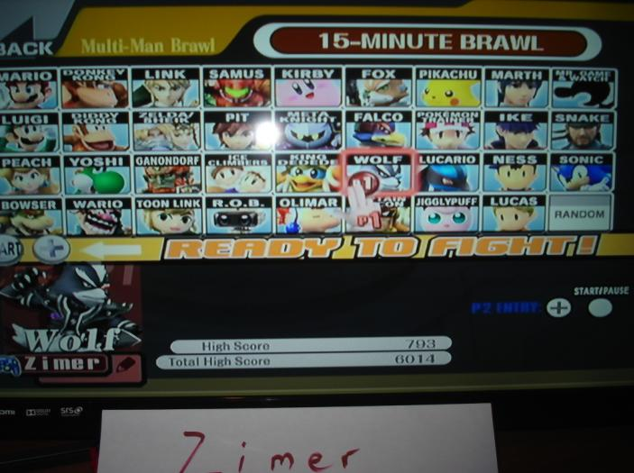 Super Smash Bros. Brawl: 15-Minute Brawl: Wolf 793 points