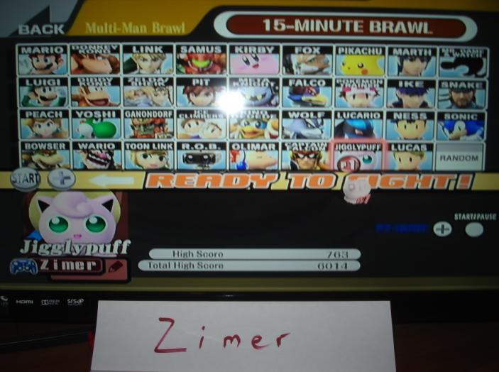 Super Smash Bros. Brawl: 15-Minute Brawl: Jigglypuff 763 points