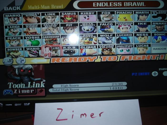 Super Smash Bros. Brawl: Endless Brawl: Toon Link 2,136 points