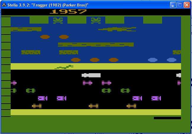 arenafoot: Frogger (Atari 2600 Emulated Novice/B Mode) 1,957 points on 2014-02-15 11:40:34