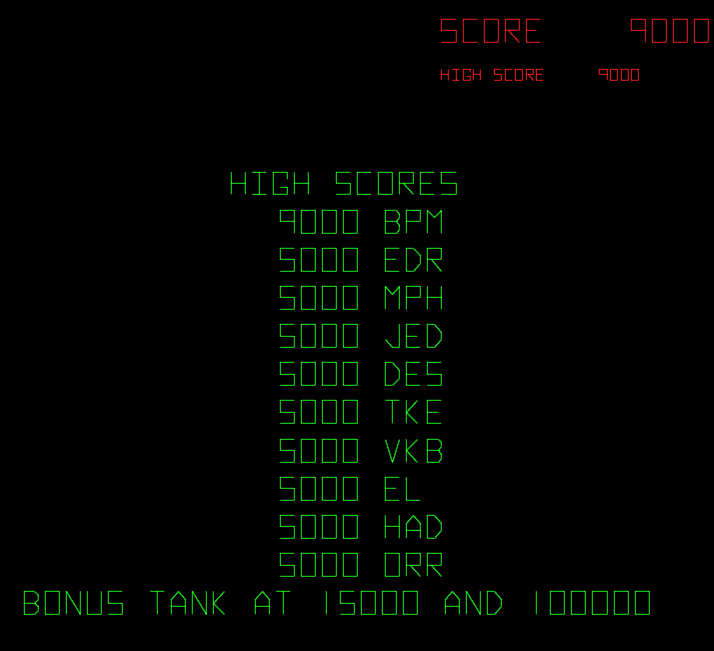 arenafoot: Battlezone (Arcade Emulated / M.A.M.E.) 9,000 points on 2014-02-17 00:01:19